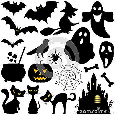 Halloweenowi sylwetka elementy