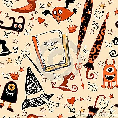 Halloweenowy bezszwowy z rzeczy czarownicami