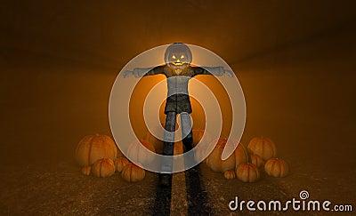 Halloweenowy dyniowy mężczyzna