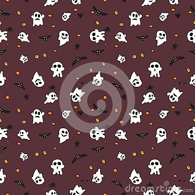 Free Hallowen Pattern Black Bats, White Ghost And Orange Pumpkin On Red Background Stock Photo - 100191800