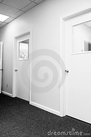 Hallway with closed doors