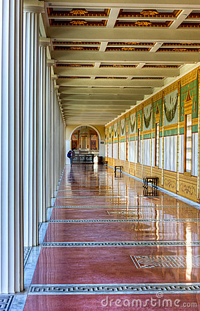 Hallway, Getty Villa, Malibu, California Editorial Stock Image