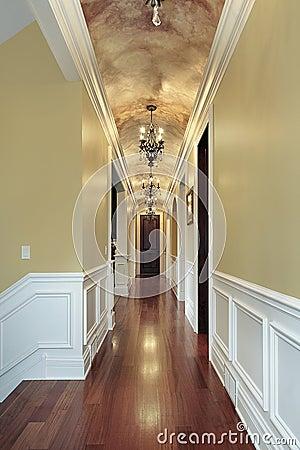 Hallway wih chandeliers