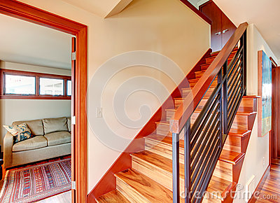Hallway with wooden stairs