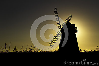 Halnaker windmill silhouette at Sunset