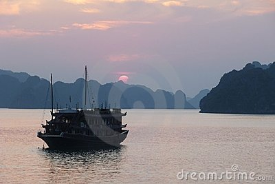 Halong Bay at sunset, Vietnam