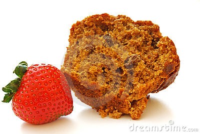 Halved Bran Muffin with Single Strawberry