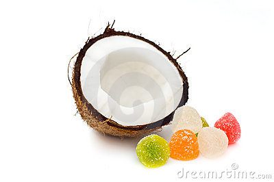 Halved coconut with jelly candies