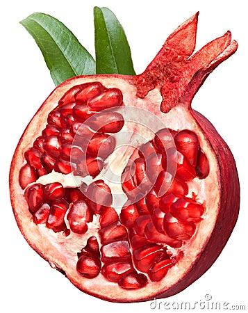Halved pomegranate fruit