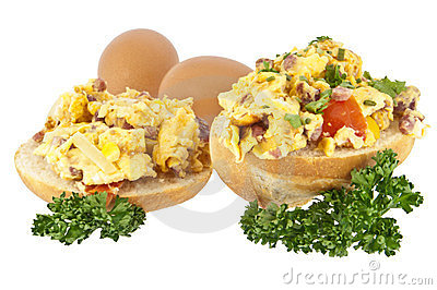 Halved roll with scrambled eggs