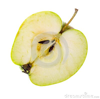 Free Halves Of A Fresh Green Sliced Apple Stock Photos - 107197323