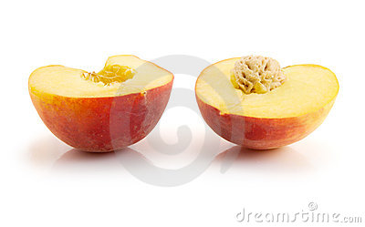 Halves of peach