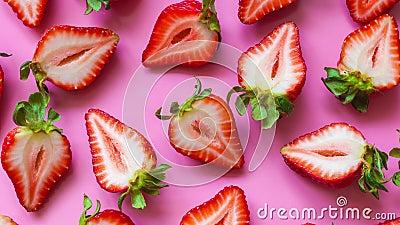 Halvfärska jordgubbar på rosa bakgrund, nära, panorering lager videofilmer
