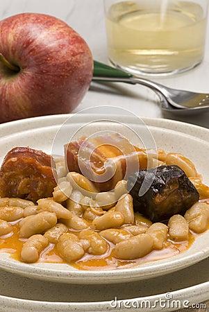 Ham and beans, Asturias style. Spanish cuisine. Fa