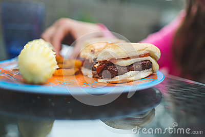 Ham Burger With Sauce Filling And French Fries With Corn On Plate Free Public Domain Cc0 Image