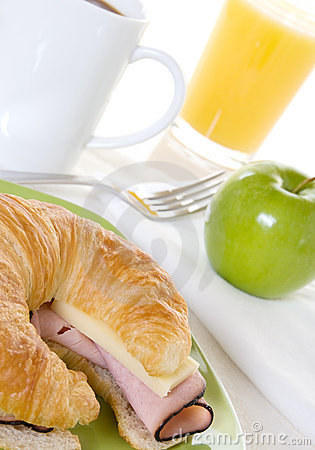 Ham and Cheese Croissant with Apple Breakfast