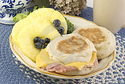 Ham and Cheese English Muffin Breakfast