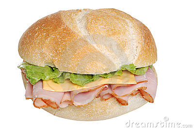 Ham And Cheese Sandwich On A Bun Isolated Royalty Free ...