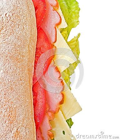 Ham, cheese & tomatoes sandwich