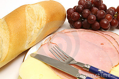 Ham & cheese w/bread & grapes