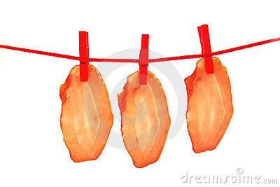 Ham dried meat drying on clothes line