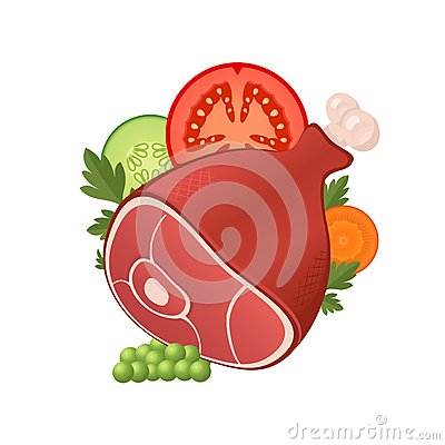 Ham meat with vegetables Vector Illustration