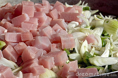 Ham with onion and pepper