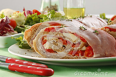 Ham and red pepper roll