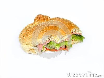 Ham salad roll bitten