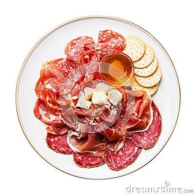 Free Ham, Salami, Cheese And Honey Stock Photography - 36196992