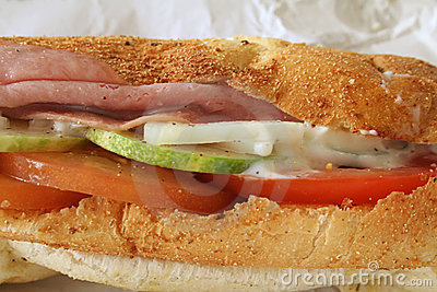 Ham Sandwich on Baguette Bread