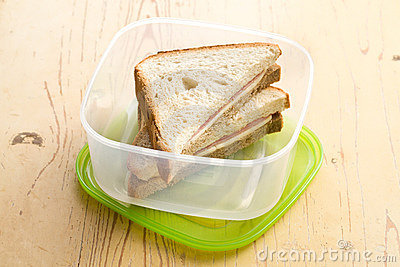 Ham sandwich in plastic box