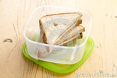 Ham sandwich in plastic box