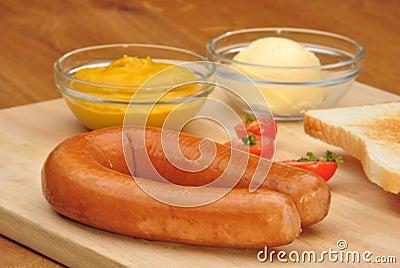 Ham sausage with toast