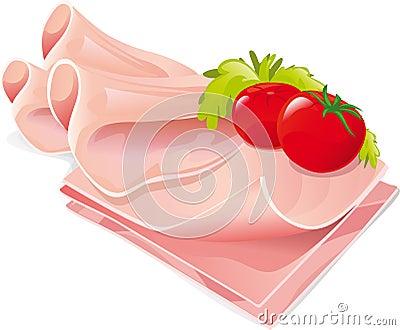 Ham slices vector illustration