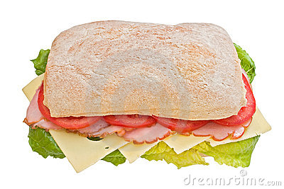 Ham, tomatoes and cheese ciabatta
