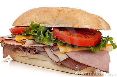 Ham and turkey sandwich on a hoagie bun on white