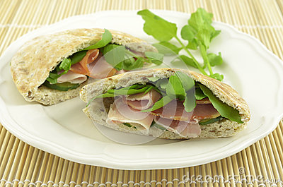 Ham and Watercress pita