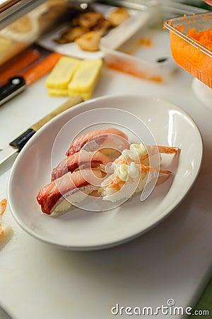 Free Hamachi Sushi And Shrimp Sushi Topping With Tobiko (Shrimp Eggs) And Mayongnes Stock Image - 70671061