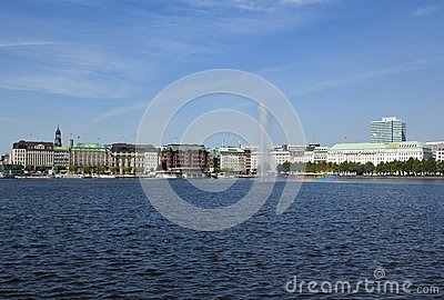 Hamburg, Binnenalster Lake with fountain