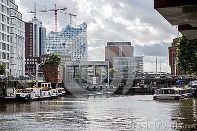 Hamburg City Germany Boats Harbor front of elb Philharmony 6 Stock Photo