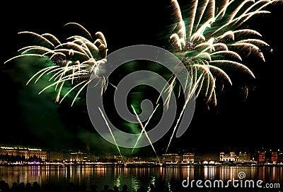Hamburg, fireworks above Binnenalster lake