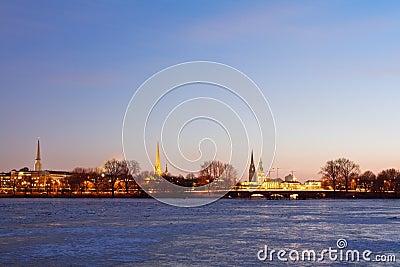 Hamburg with frozen Alster