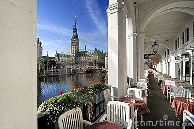 Hamburg, Germany, alster arcades and city hall