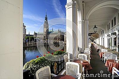 Hamburg, Germany, alster arcades and city hall