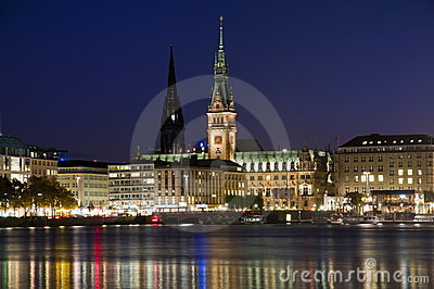 Hamburg, Germany, town hall and Nikolai church