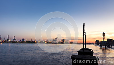 Hamburg Harbor at Dusk