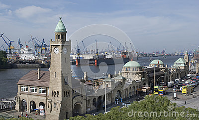 Hamburg harbor level tower and landing Bridges , Germany