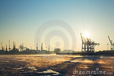 Hamburg harbor in winter