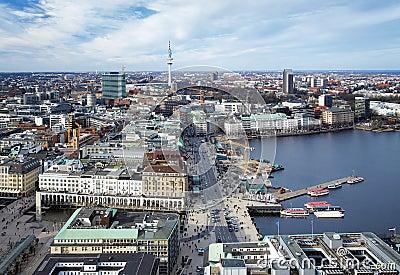 Hamburg, lake Binnenalster and TV Tower